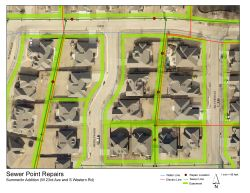 Aerial map of sewer point repairs in the Summerlin Addition