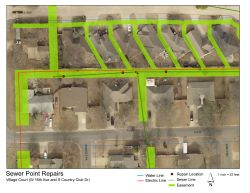 Aerial map of sewer point repairs in Village Court.
