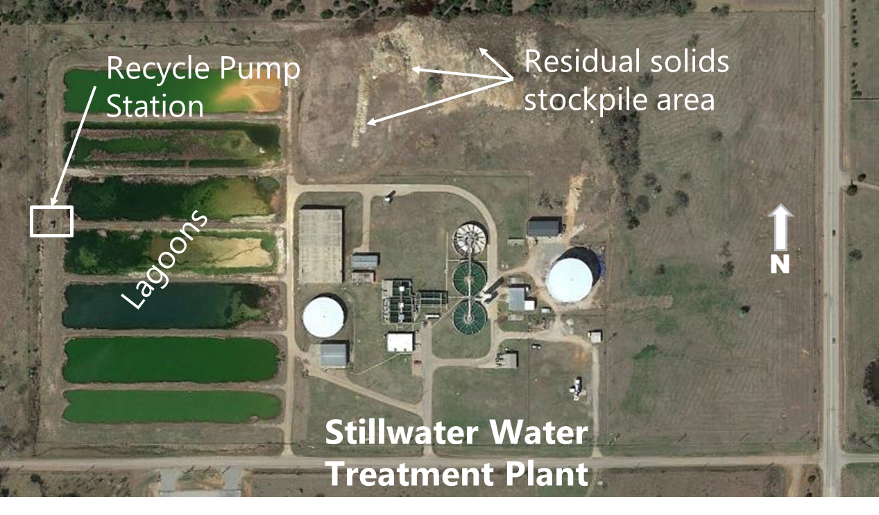 Aerial of the Water Treatment Plant showing the lagoons on the west side.