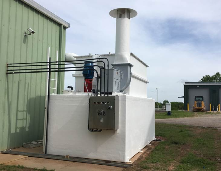 picture of the new scrubber installed outside the chemical building at the water treatment plant