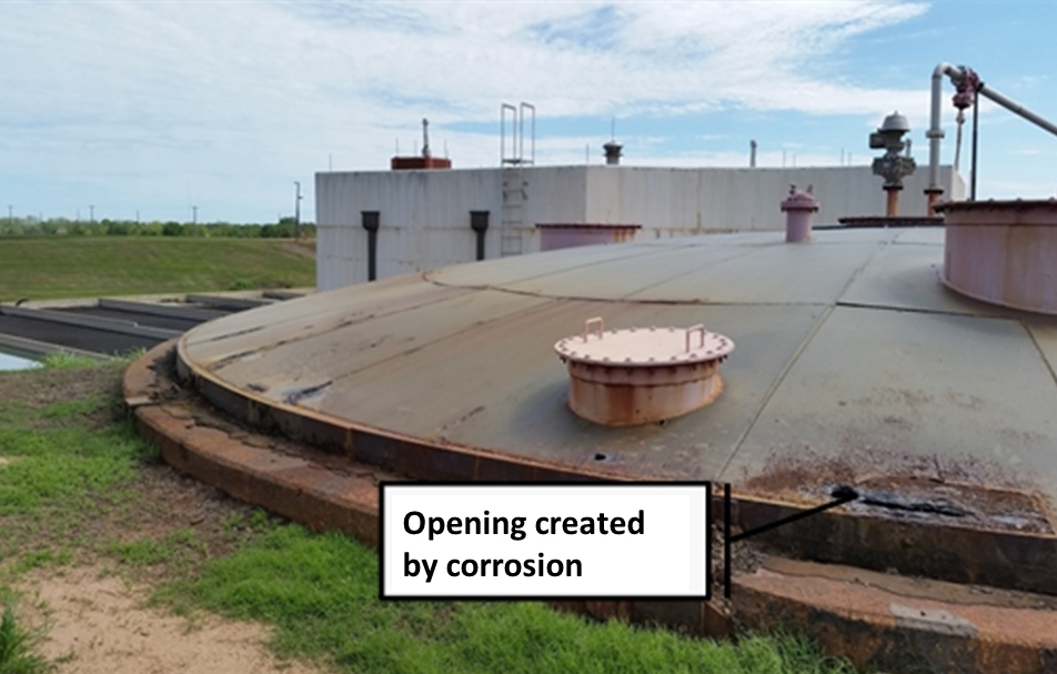 View showing the poor condition of the digester lid at the waste water treatment plant